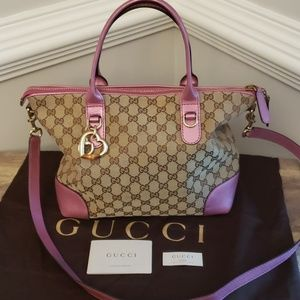 STUNNING! BARELY USED! GG GUCCI HEART BIT TOTE